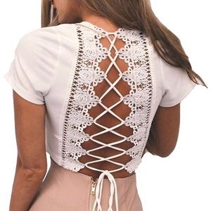 Tops - nwot White crop top with lace up back